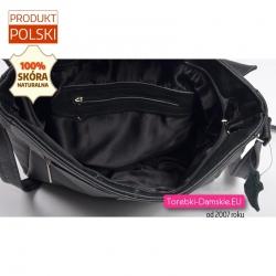Funkcjonalna pakowna miejska torebka - listonoszka z klapą zamykana suwakiem