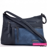 Granatowo - niebieska mała torebka z dwoma kieszeniami z przodu