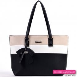 Czarno - beżowo - biała duża torba na ramię z kokardą na łańcuszku