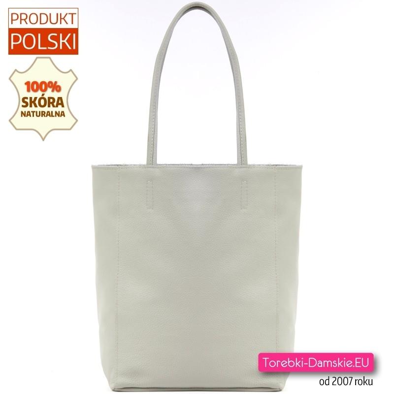 Duża szara torba damska ze skóry naturalnej - jasny odcień, modny shopper na ramię
