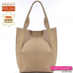 Beżowa torba shopper ze skóry mieści A4 odcień cielisty nude