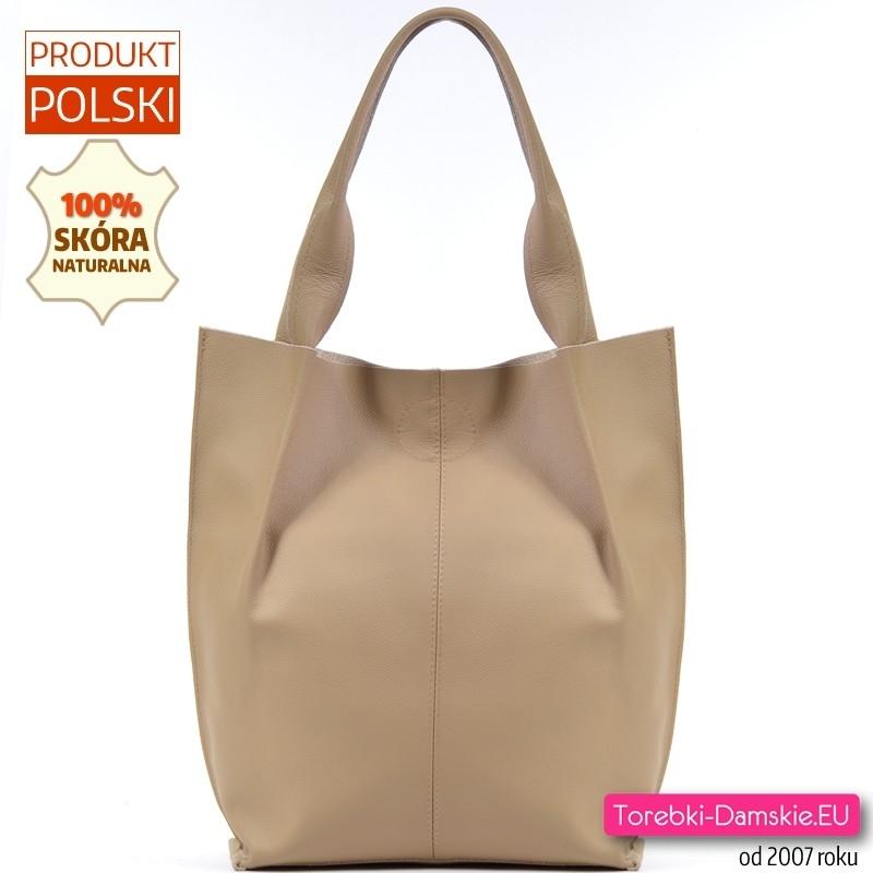 Duża torba skórzana shopper na ramię w kolorze beżowym