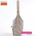 Lekka torebka beżowa z tkaniny melanż z parcianymi paskami
