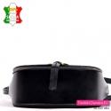 Sztywna torebka skórzana czarna z Włoch