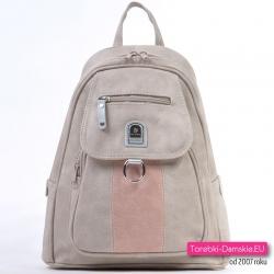 Beżowy plecak damski z różową wstawką