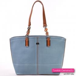 63b6102b67027 Błękitna miejska torba damska na ramię marki David Jones z elementami  brązowymi