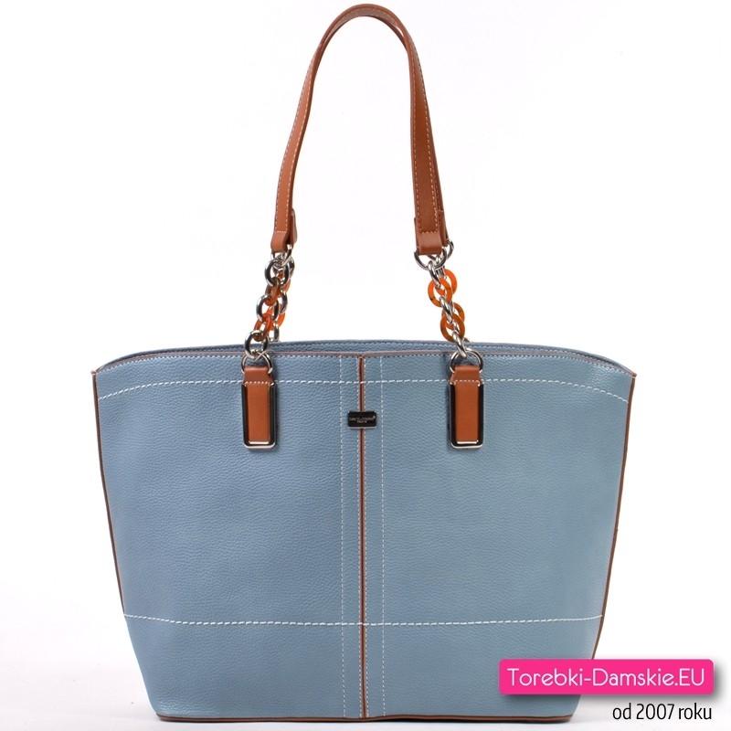 Błękitna miejska torba damska na ramię marki David Jones z elementami brązowymi