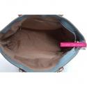 Pojemna i praktyczna błękitna torebka w eleganckim stylu mieszcząca format A4