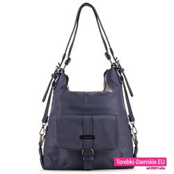9f33a2d8888be Granatowa torba i plecak damski w jednym