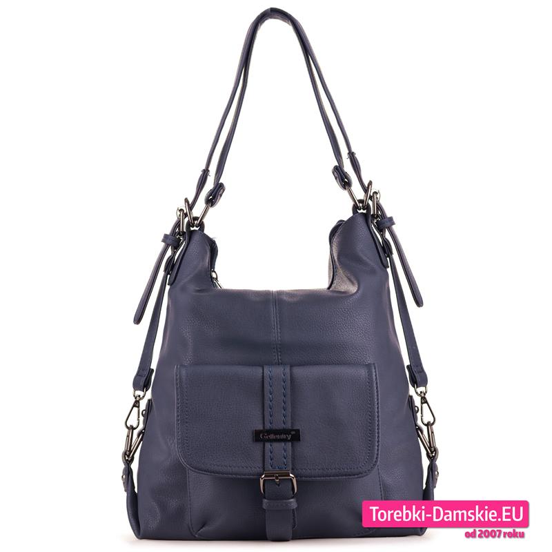 Granatowa torba i plecak damski w jednym