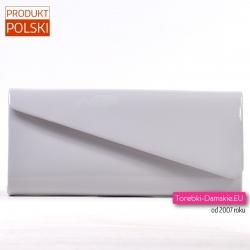 1295aafdfd09a Szara lakierowana klasyczna torebka wizytowa - kopertówka