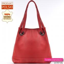 Skórzana czerwona torba na ramię