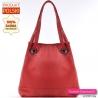 Czerwona torba damska shopper z miękkiej skóry