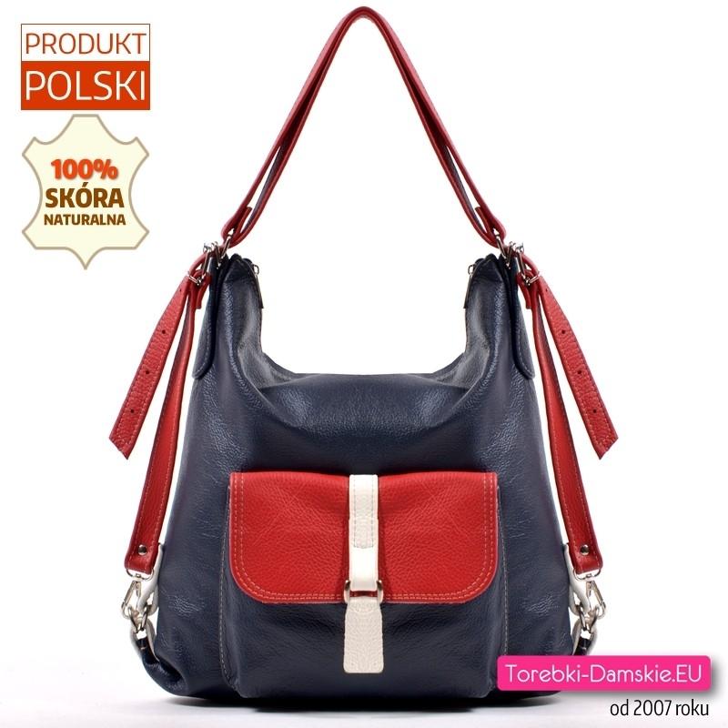 Granatowo - czerwono - biała torebka - plecak skórzany
