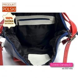 Trójkolorowy granatowo-biało-czerwony torbo-plecak skórzany