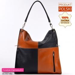 Skórzana czarno - brązowa torba damska