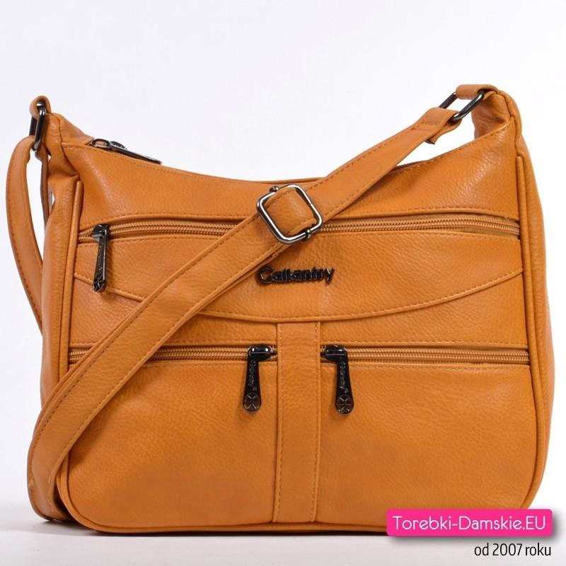 Żółta modna torebka w ciemnym odcieniu koloru