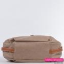 Funkcjonalna torebka w kolorze beżowym z brązowymi paskami na bokach