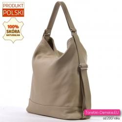 Pojemna skórzana beżowa torba i plecak damski w jednym