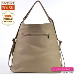 Wykonana z grubej miękkiej beżowej skóry miejska duża torba/plecak