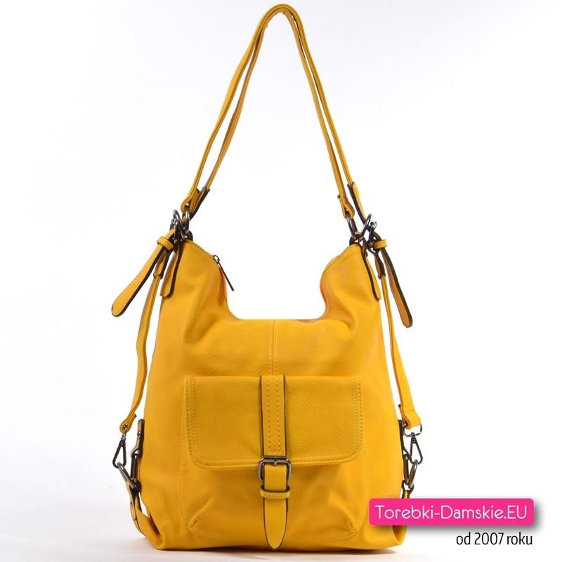 Torbo plecak damski w kolorze żółtym