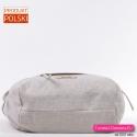 Lekka pojemna i funkcjonalna beżowa torba w modnym stylu - Made in Poland