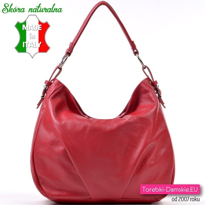 Czerwona włoska torba miejska ze skóry