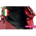 Włoska czerwona torebka skórzana - gruba miękka skóra licowa