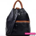 Czarny damski plecak z elementami brązowymi