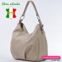 Włoska torba skórzana w kolorze beżowym - odcień średniej jasności, ozdobne sprzączki na bokach