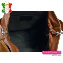 Duża skórzana włoska torba w kolorze brązowym - koniakowym