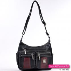 Czarno - bordowa średniej wielkości torebka z kieszonkami