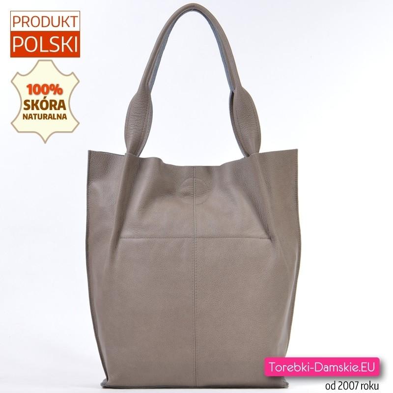 Idealna na jesień skórzana torebka - duży shopper na ramię - kolor taupe (modny odcień beżowego)