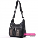 Funkcjonalna i modna czarna torebka damska dwukomorowa