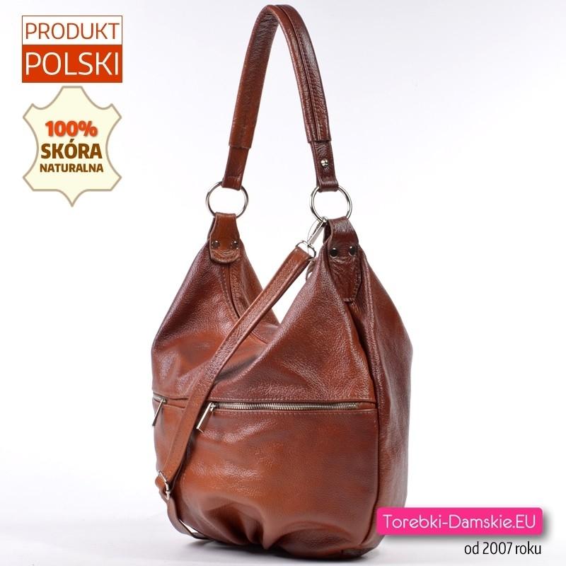 Duża skórzana torba damska kolor brązowy