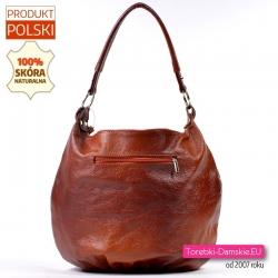 Polska torebka ze skóry brązowej z kieszenią z tyłu
