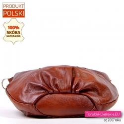 Praktyczna pakowna torebka ze skóry w przypalanym brązie