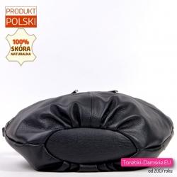 Polska owalna czarna skórzana torebka z kieszeniami