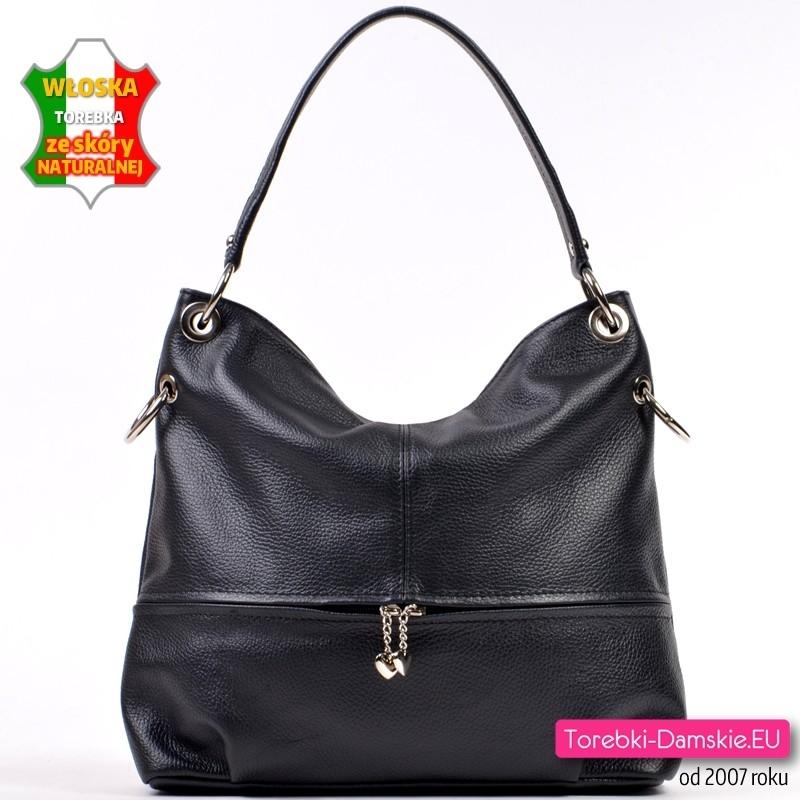 Skórzana czarna torebka damska