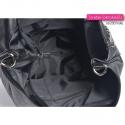 Zamykana suwakiem duża torba A4 czarna z ozdobnym łańcuchem