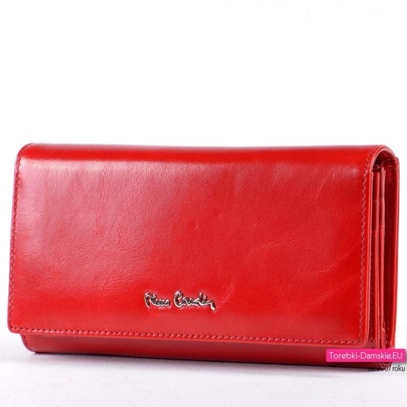 Czerwony duży portfel damski z miękkiej luksusowej skóry