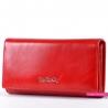 Czerwony oryginalny duży portfel damski z luksusowej skóry naturalnej