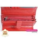 Duży damski czerwony portfel skórzany z dużą ilością kieszeni
