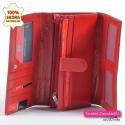 Portfel czerwony damski skórzany z kieszonkami i przegrodami