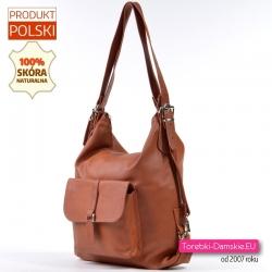 Torebko - plecak skórzany brązowy koniakowy z kieszenią z klapką z przodu