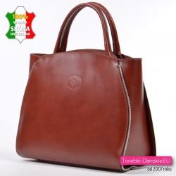Stylowa elegancka i pojemna brązowa torba włoska ze skóry