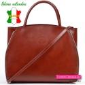 Włoska torba miejska / teczka / aktówka damska w kolorze brązowym