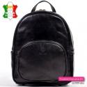 Czarny skórzany plecak damski - 4 kieszenie zewnętrzne
