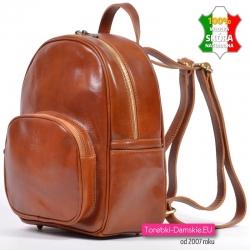 Stylowy włoski plecak skórzany koniakowy