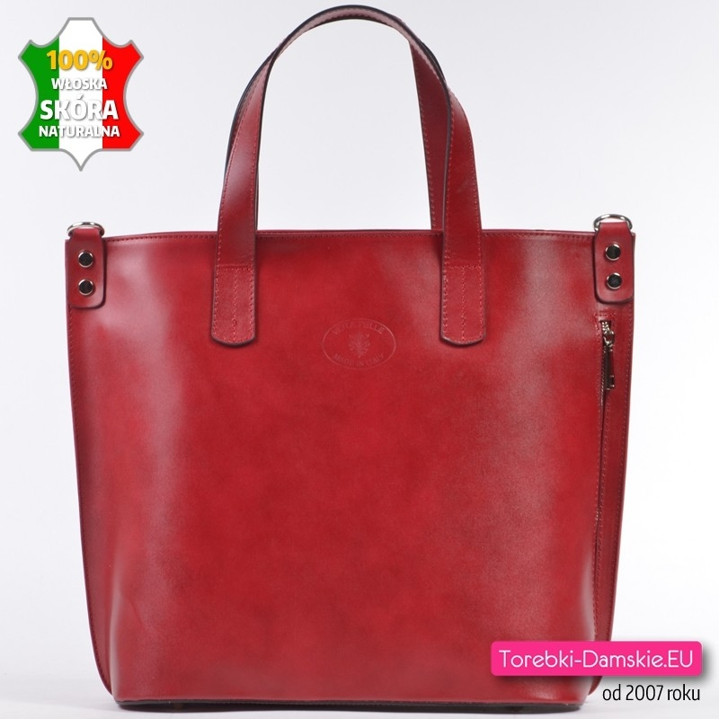 Duża torba shopper z czerwonej skóry - pionowy suwak z przodu